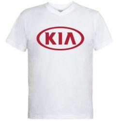 Мужская футболка  с V-образным вырезом KIA - FatLine