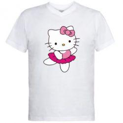 Чоловічі футболки з V-подібним вирізом Kitty балярина - FatLine