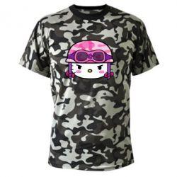 Камуфляжная футболка Kitty-вояка - FatLine