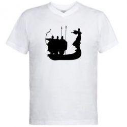 Мужская футболка  с V-образным вырезом Кий,Щек,Хорив - FatLine