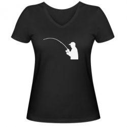 Женская футболка с V-образным вырезом Клюёт! - FatLine