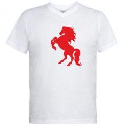 Мужская футболка  с V-образным вырезом Конь - FatLine