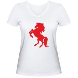 Женская футболка с V-образным вырезом Конь - FatLine