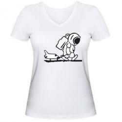 Женская футболка с V-образным вырезом Космонавт - FatLine