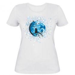 Женская футболка Кот и Луна