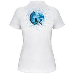 Женская футболка поло Кот и Луна