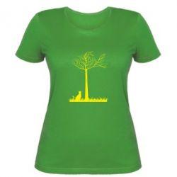 Женская футболка Кот прыгает на дерево - FatLine