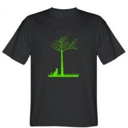 Мужская футболка Кот прыгает на дерево - FatLine