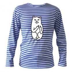Тельняшка с длинным рукавом Кот с факом - FatLine