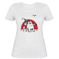 Женская футболка Кот Саймона на фоне заката - FatLine