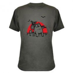 Камуфляжная футболка Кот Саймона на фоне заката - FatLine