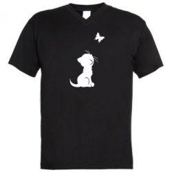 Мужская футболка  с V-образным вырезом котик и бабочка - FatLine