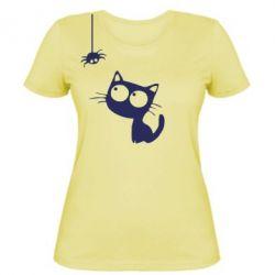 Жіноча футболка Котик і павук - FatLine