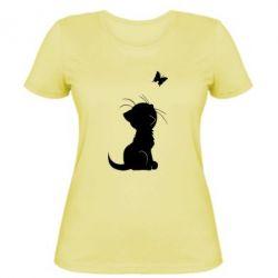 Женская футболка Котик с бабочкой - FatLine