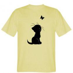 Мужская футболка Котик с бабочкой - FatLine