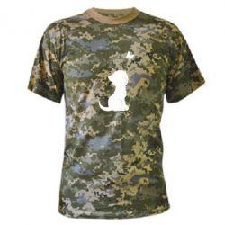 Камуфляжная футболка Котик с бабочкой - FatLine