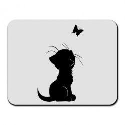 Коврик для мыши Котик с бабочкой - FatLine