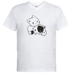 Чоловічі футболки з V-подібним вирізом кошенята - FatLine