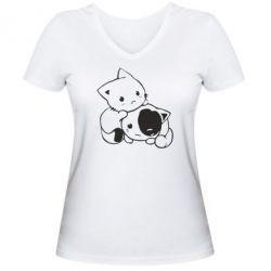 Жіноча футболка з V-подібним вирізом кошенята - FatLine