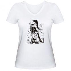 Женская футболка с V-образным вырезом Козачина з люлькою - FatLine