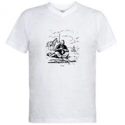 Мужская футболка  с V-образным вырезом Козак та кінь - FatLine