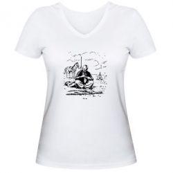 Женская футболка с V-образным вырезом Козак та кінь - FatLine