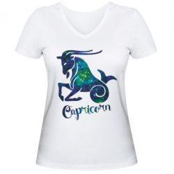 Женская футболка с V-образным вырезом Козерог звезды