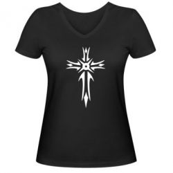 Женская футболка с V-образным вырезом Крест 2 - FatLine