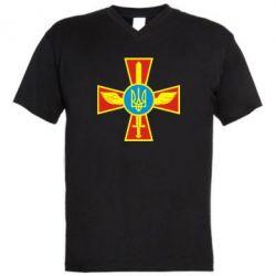 Мужская футболка  с V-образным вырезом Крест з мечем та гербом - FatLine