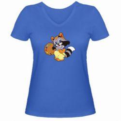 Женская футболка с V-образным вырезом Крошка Енот