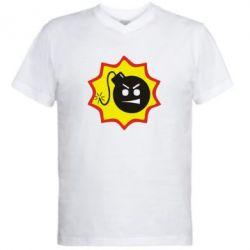 Мужская футболка  с V-образным вырезом Крутой Сем - FatLine