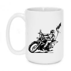 Кружка 420ml Байкер на мотоцикле - FatLine