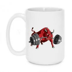 Кружка 420ml Bull with a barbell - FatLine