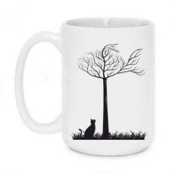 Кружка 420ml Кот прыгает на дерево - FatLine