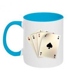 Кружка двухцветная 4 cards - FatLine