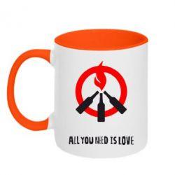 Кружка двухцветная All you need is love (Коктейль Молотова) - FatLine