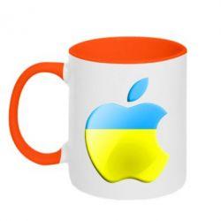 Кружка двухцветная Apple Ukraine - FatLine