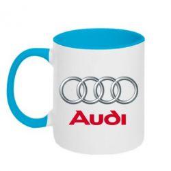 Кружка двухцветная Audi 3D Logo - FatLine