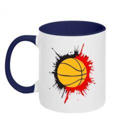 Кружка двухцветная Баскетбольный мяч - FatLine