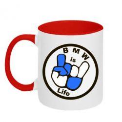Кружка двухцветная BMW is Life - FatLine