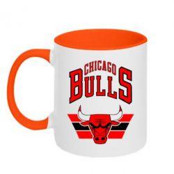 Кружка двухцветная Большой логотип Chicago Bulls - FatLine