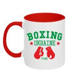 Кружка двухцветная Boxing Ukraine - FatLine