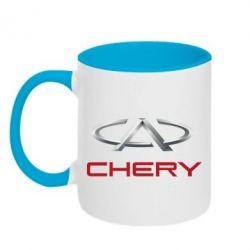 Кружка двухцветная Chery Logo - FatLine