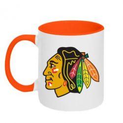 Кружка двухцветная Chicago Black Hawks - FatLine