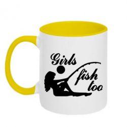 Кружка двухцветная Девушки тоже рыбачат - FatLine