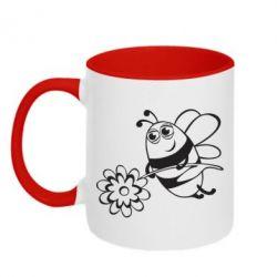 Кружка двухцветная Добрая пчелка - FatLine