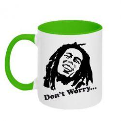 Кружка двухцветная Don't Worry (Bob Marley) - FatLine
