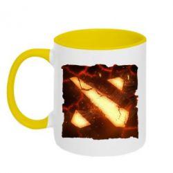 Кружка двухцветная Dota 2 Fire Logo - FatLine