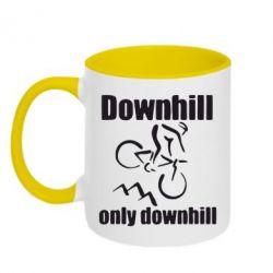 Кружка двухцветная Downhill,only downhill - FatLine
