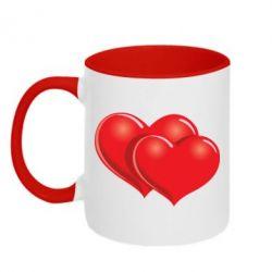 Кружка двухцветная Два сердца - FatLine